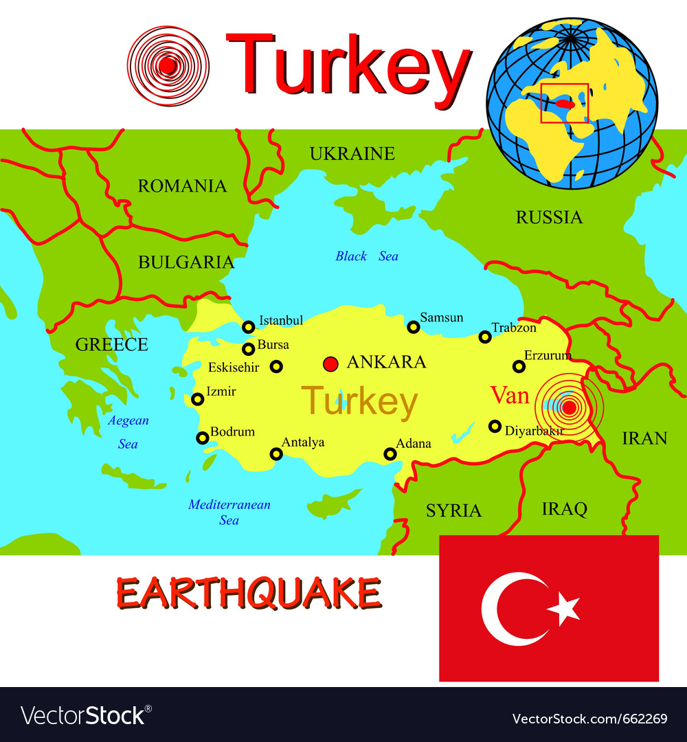Turkey map with epicenter earthquake Royalty Free Vector