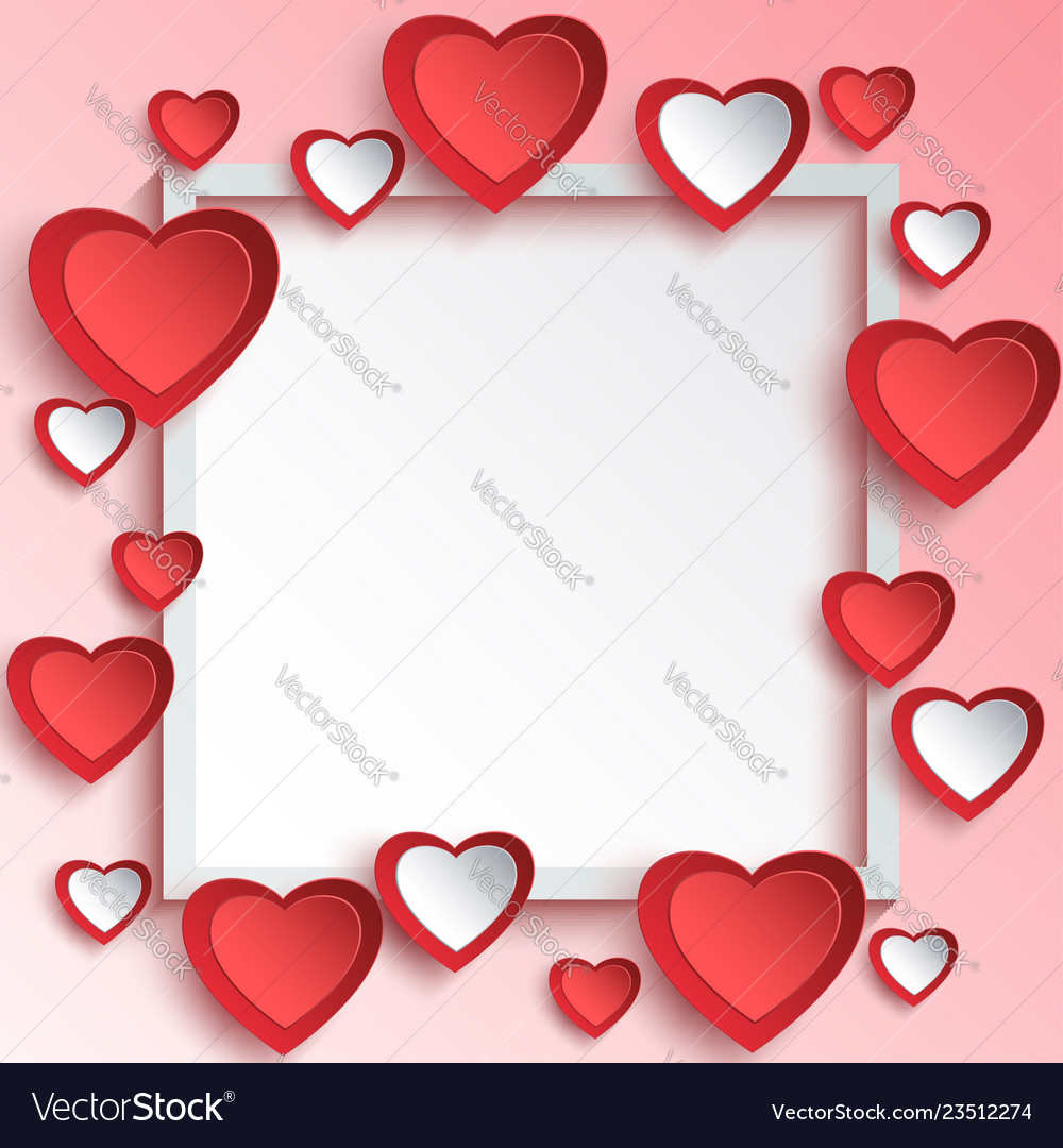 Abstract valentine day background with 3d paper