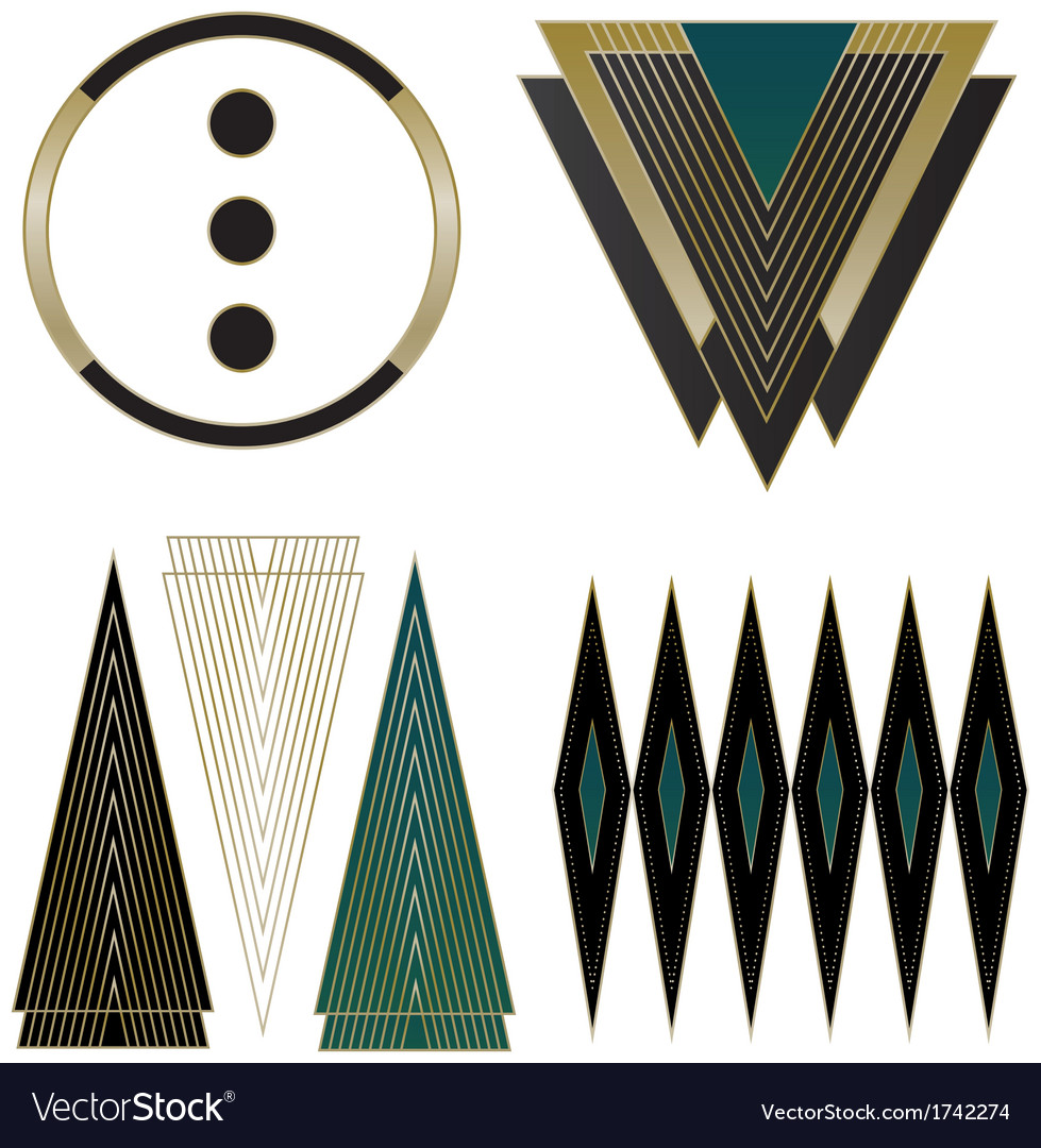 Art deco logos and design elements royalty free vector image - Art deco design elements ...