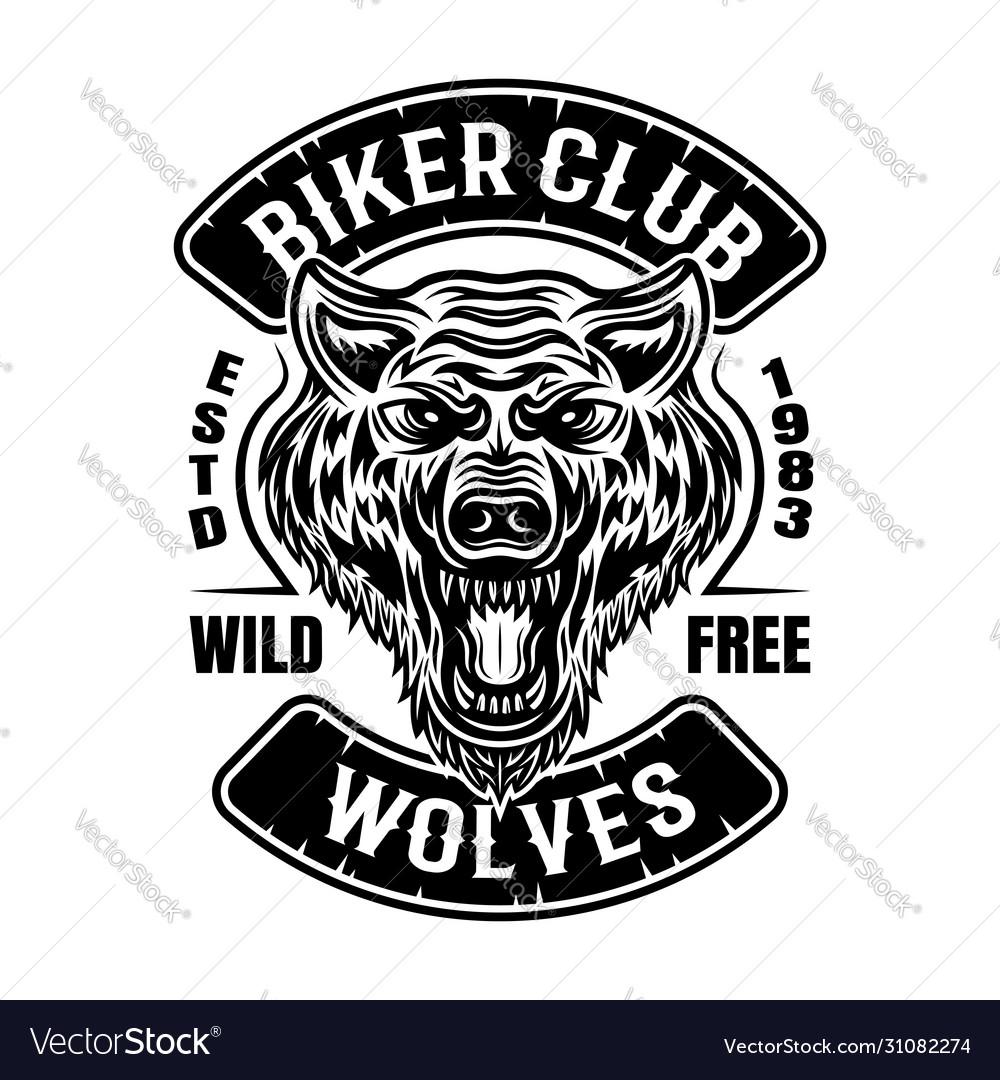 Biker club patch or emblem with wolf head