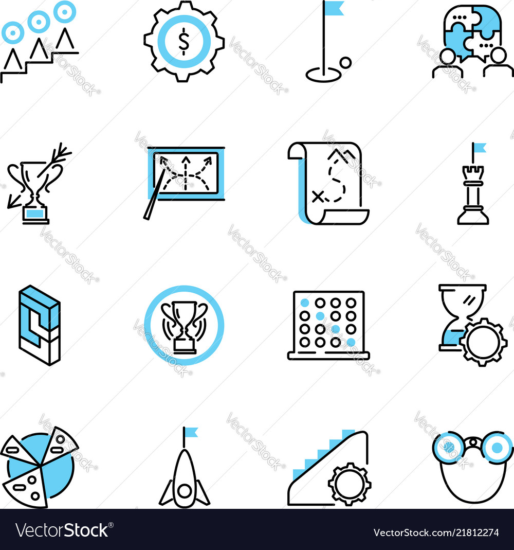 Business strategy outline icon collection