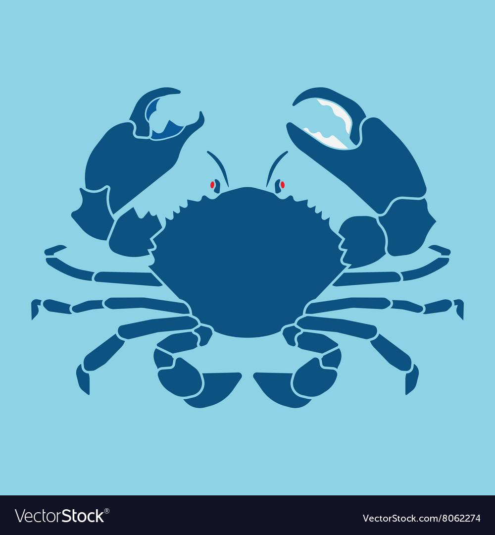 Crab silhouette sign symbol vector image