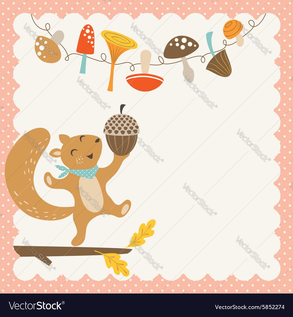 Cute autumn squirrel