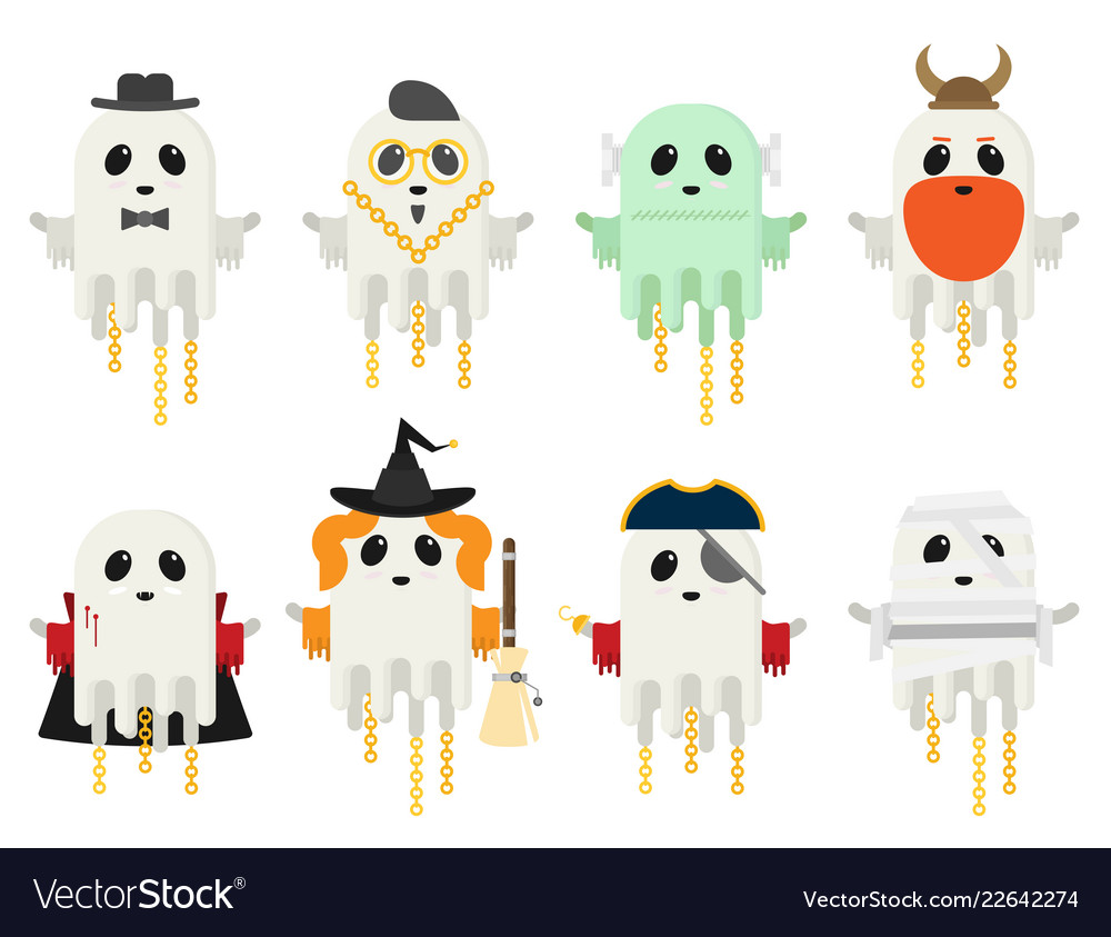 Flat ghost set in different costumes isolated on