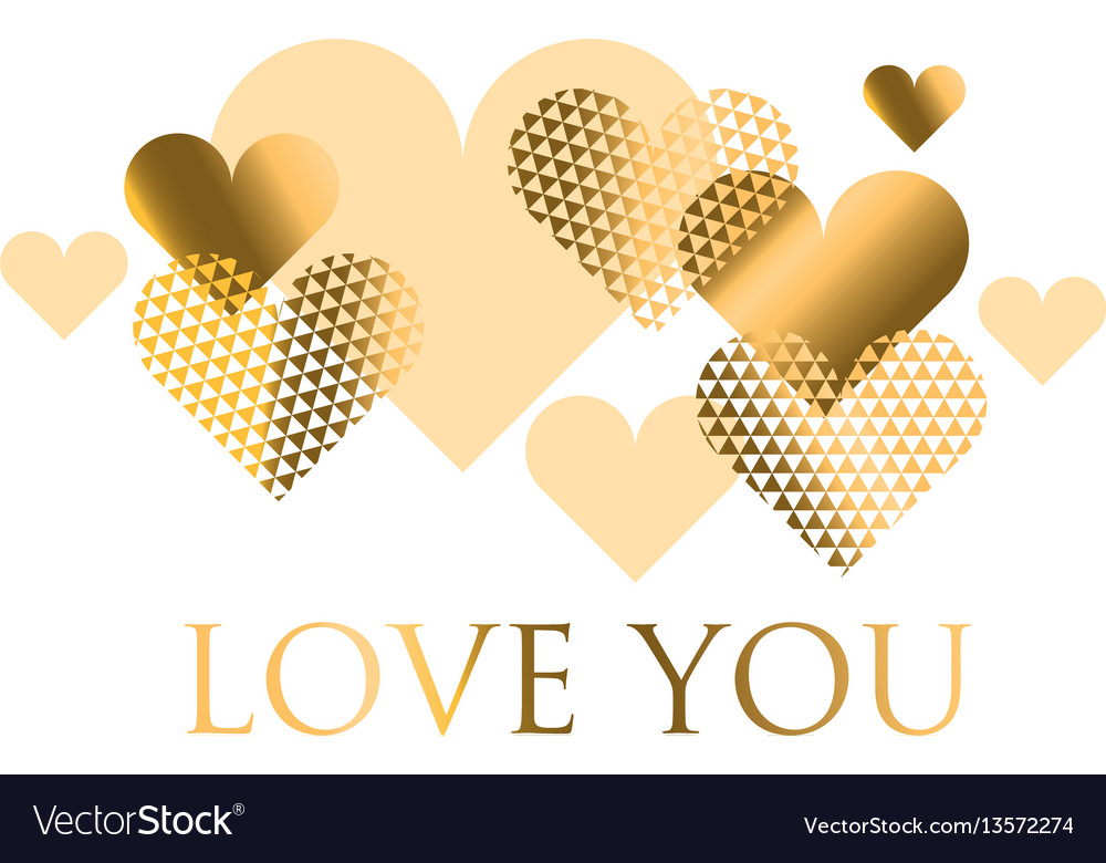 For holiday design many gold and black hearts on