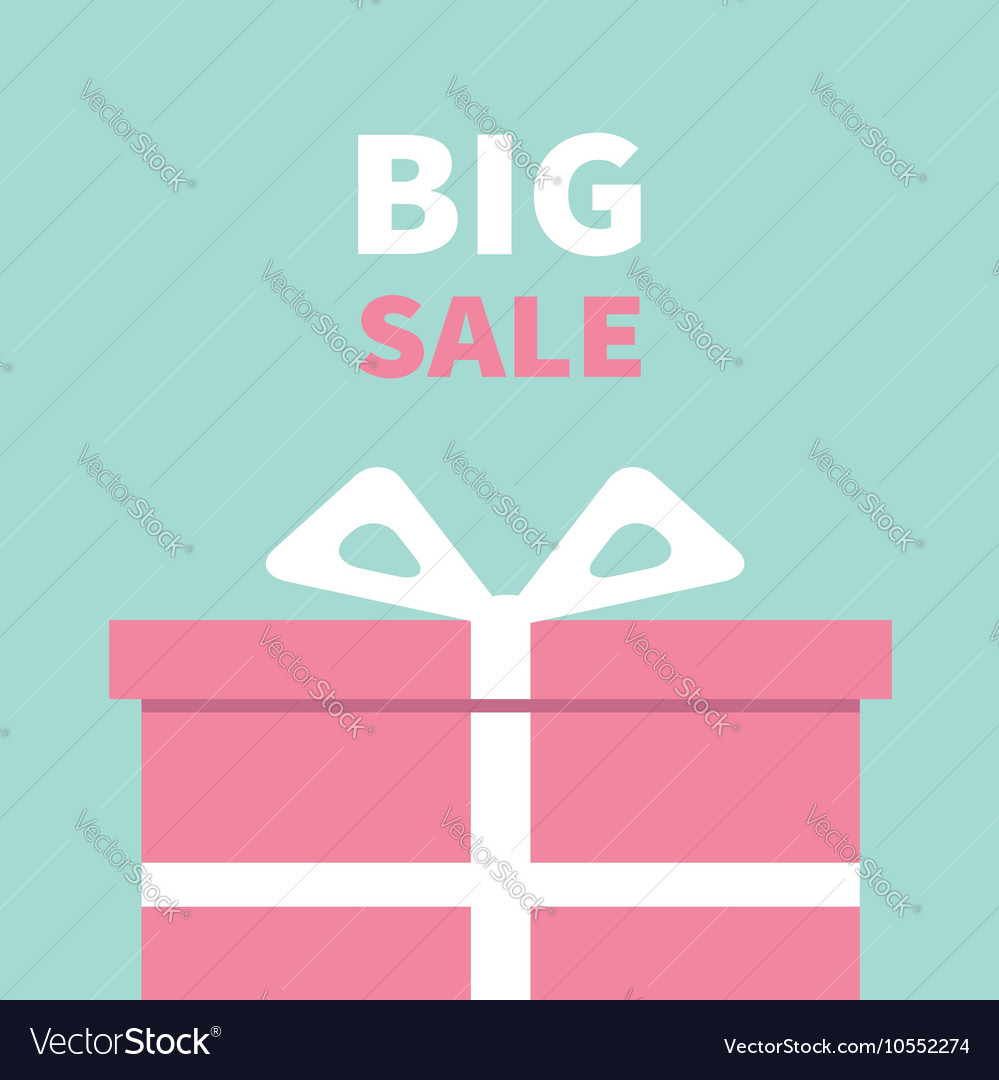 Gift box with ribbon and bow Big sale advertising vector image