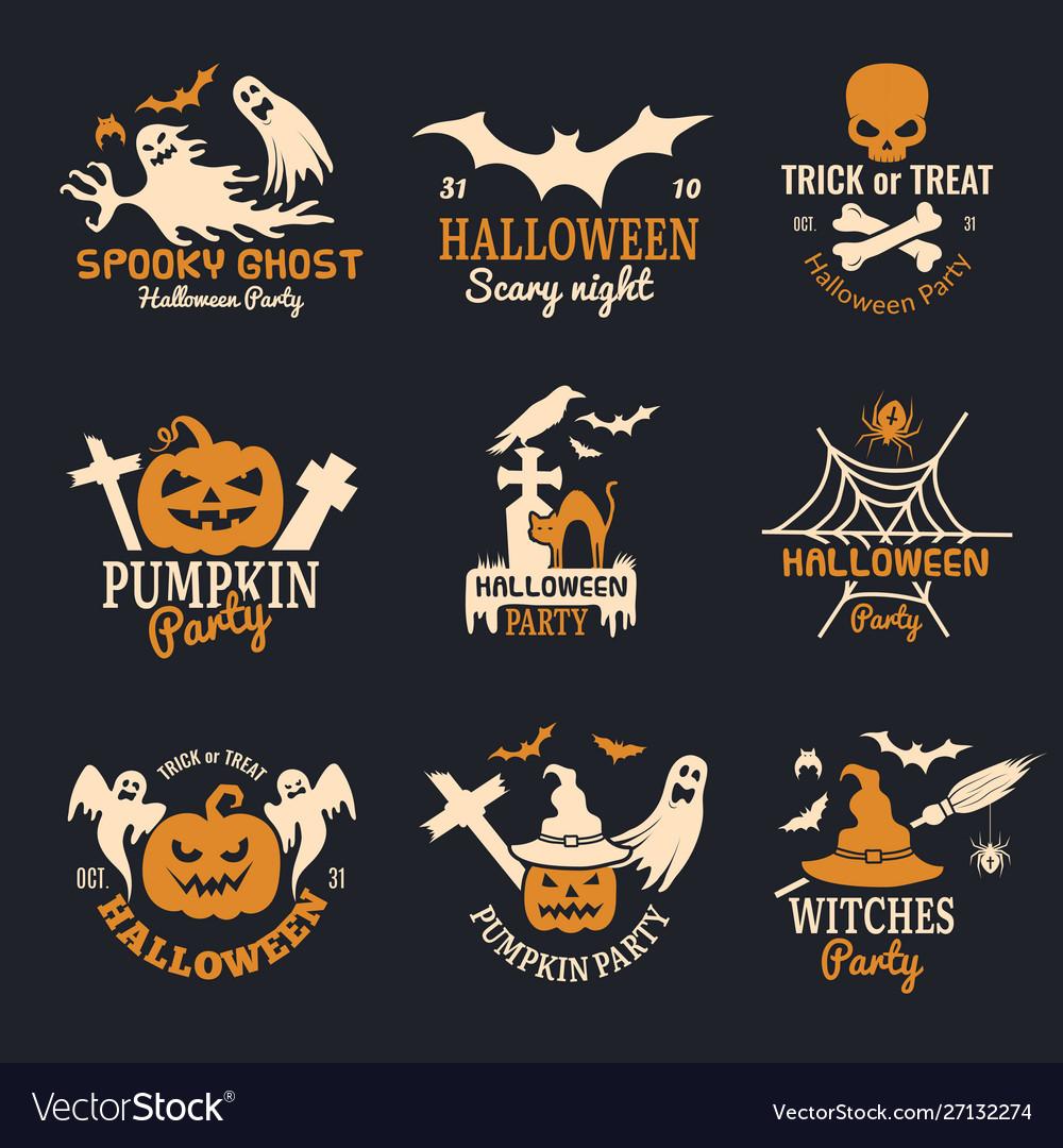 Halloween badges party scary logo horror symbols