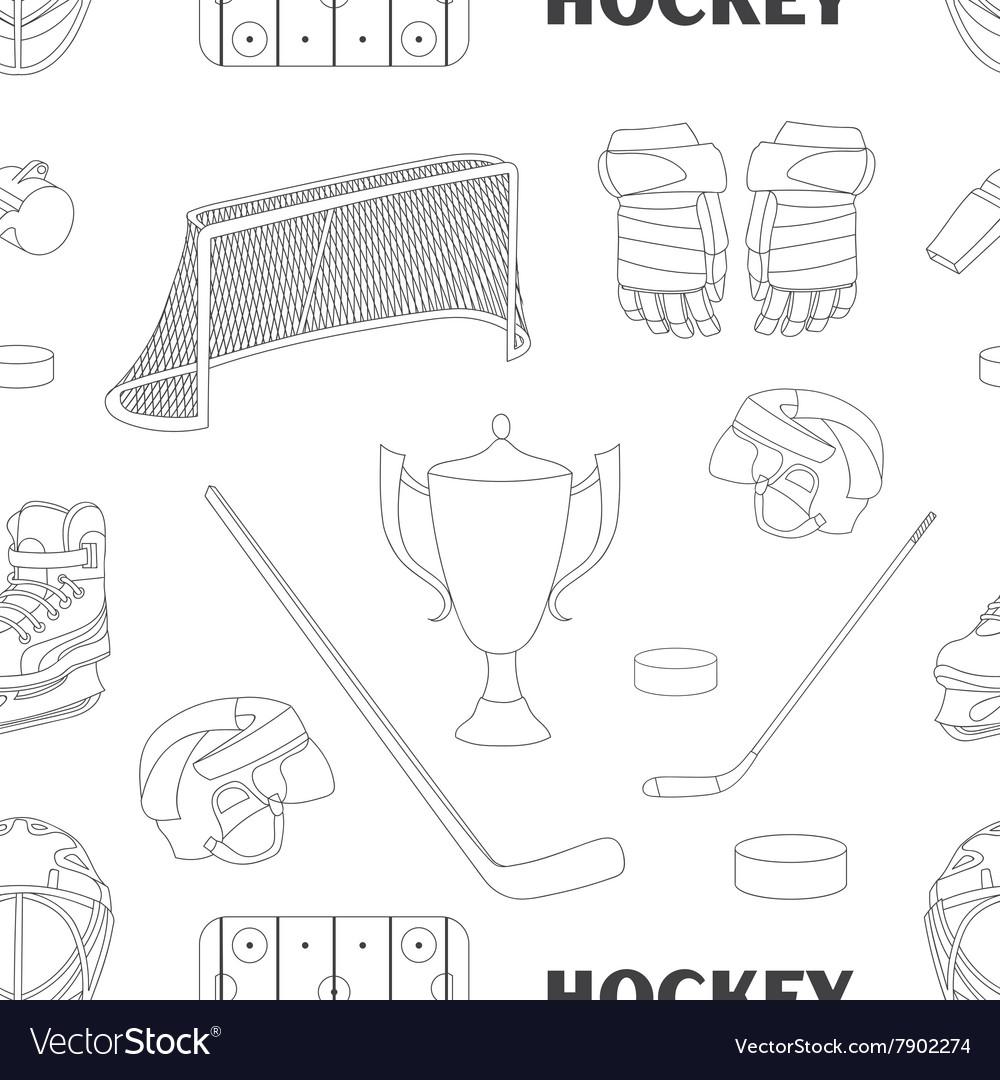 Hand drawn hockey icons pattern vector image
