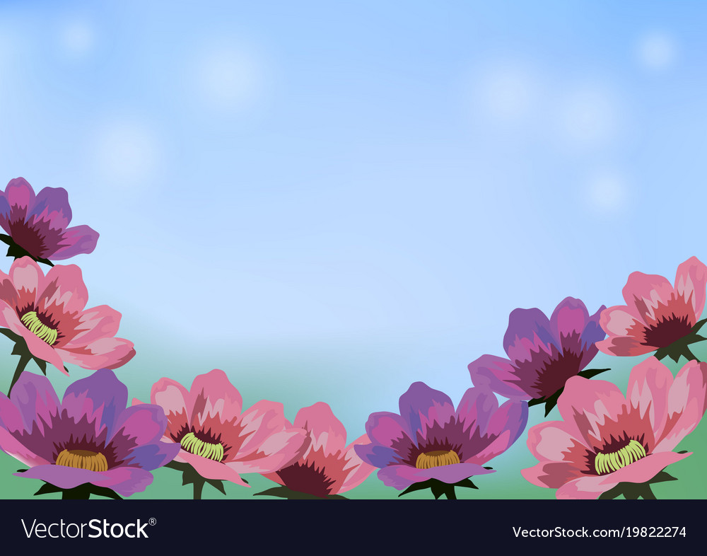 Image with flowers blue sky and place for text