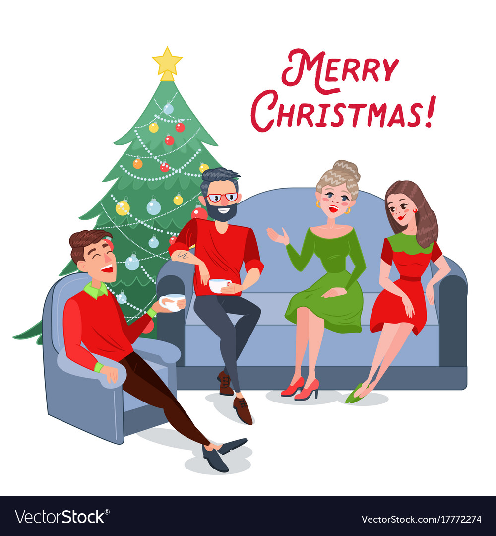 Merry christmas friends celebrating new year Vector Image