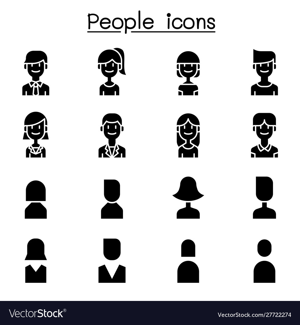 People user icon set in flat style
