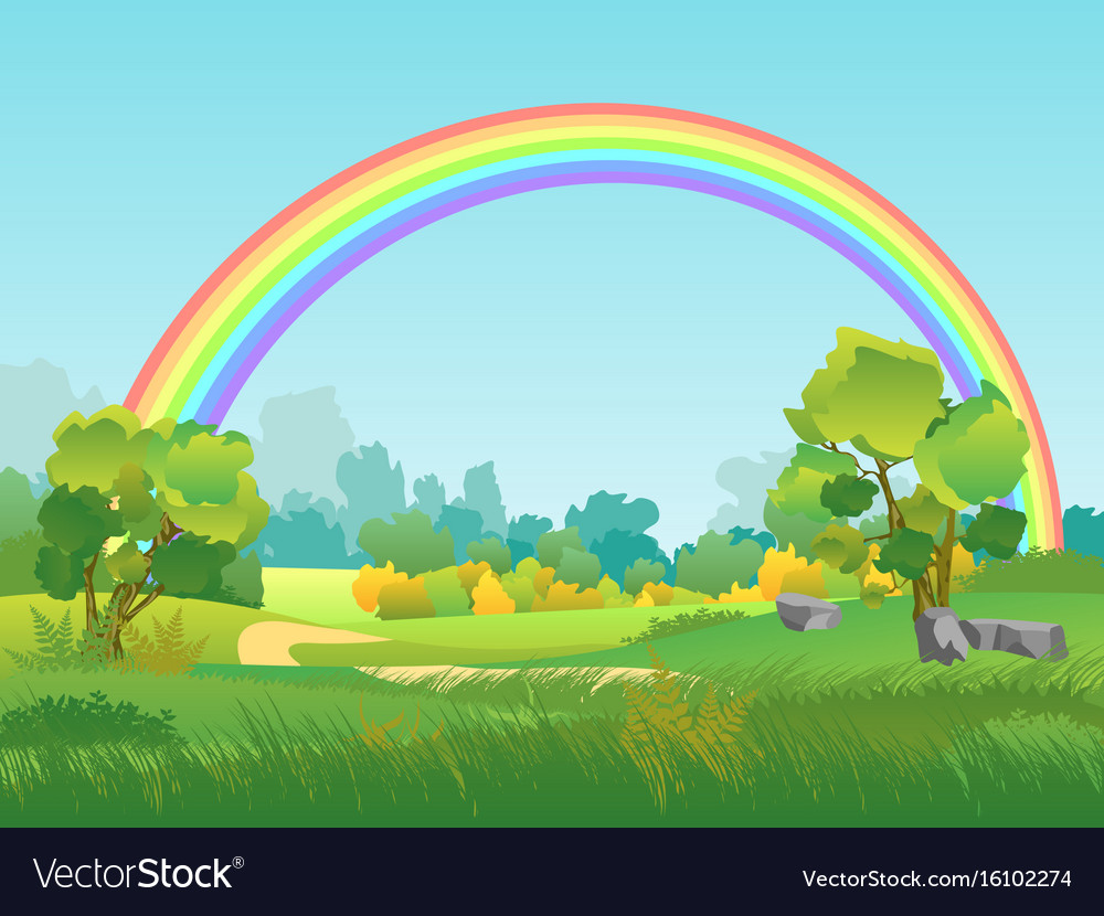 Rural landscape with rainbow summertime