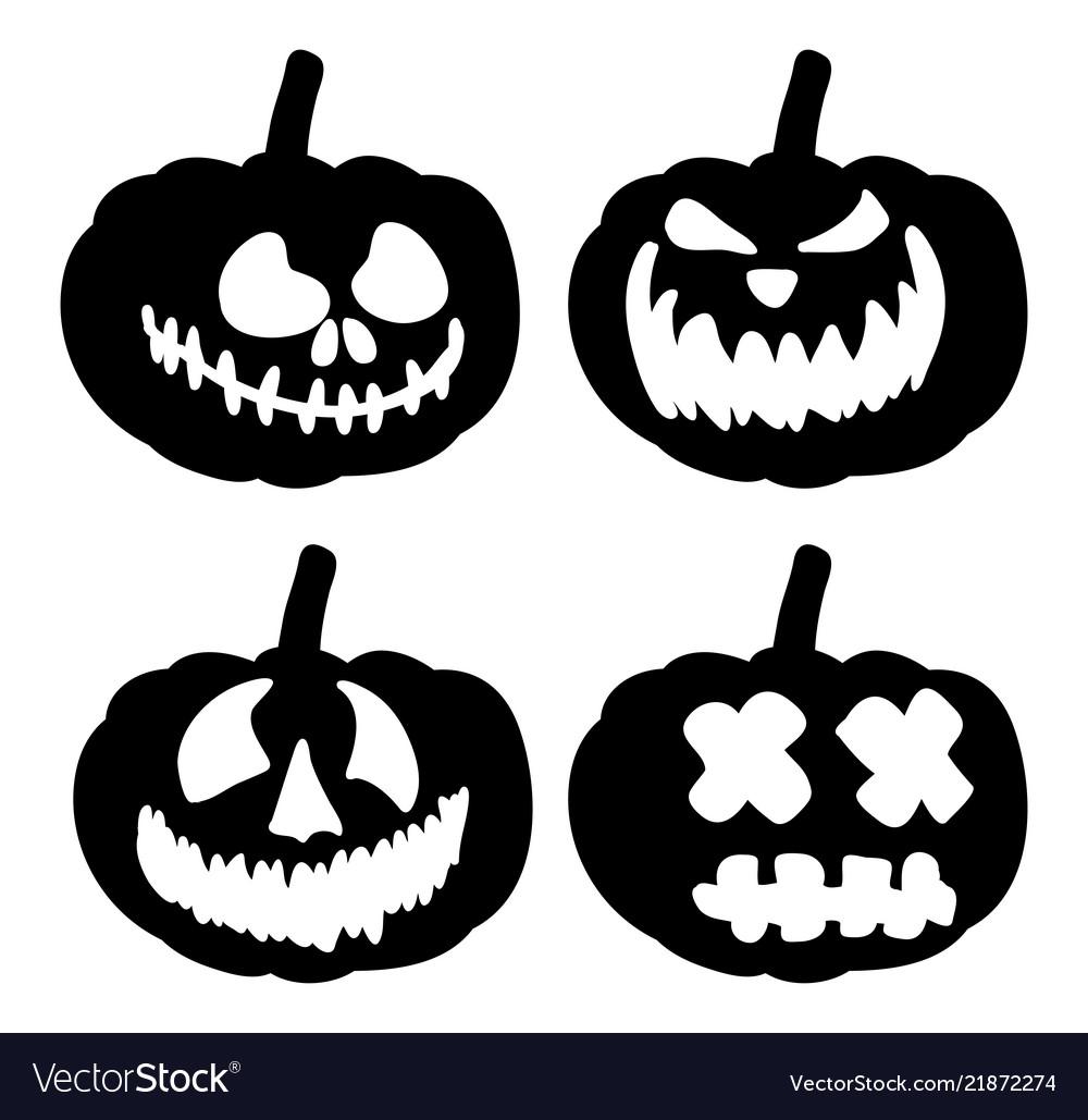 Scary Pumpkin Face Symbol Icon Design Royalty Free Vector