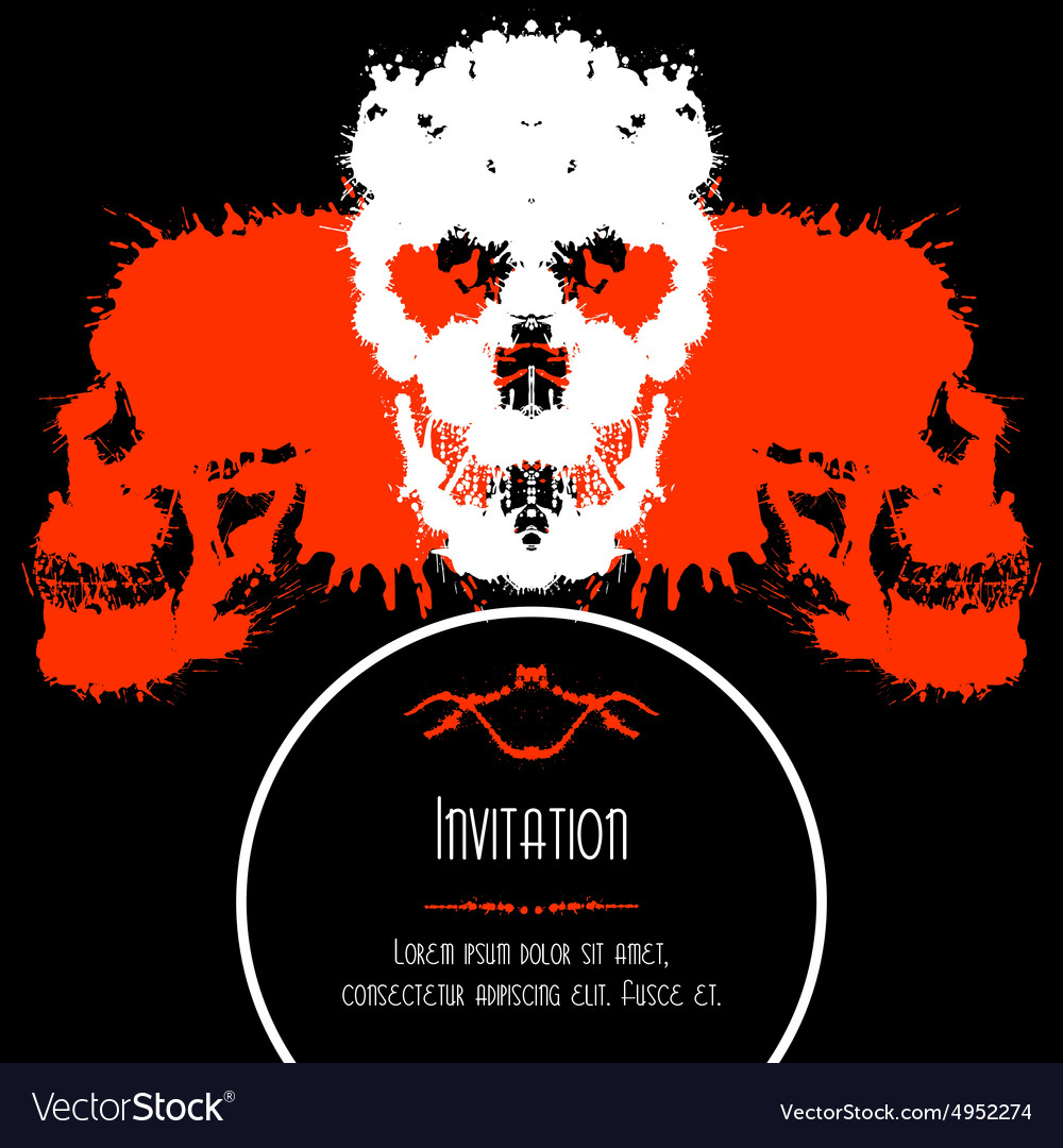 Scary Skulls Invitation or Postcard for Halloween