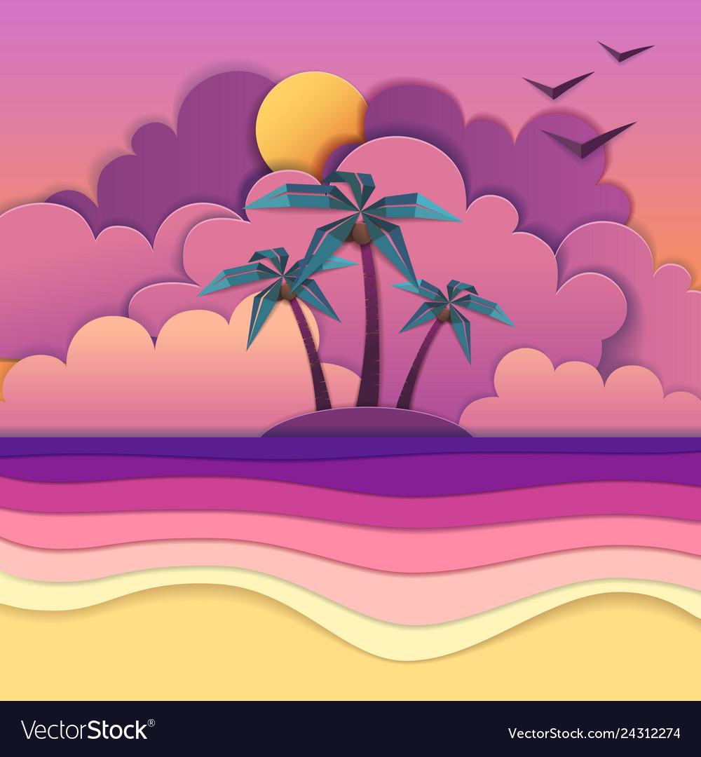 Sea beach cut out paper art style design