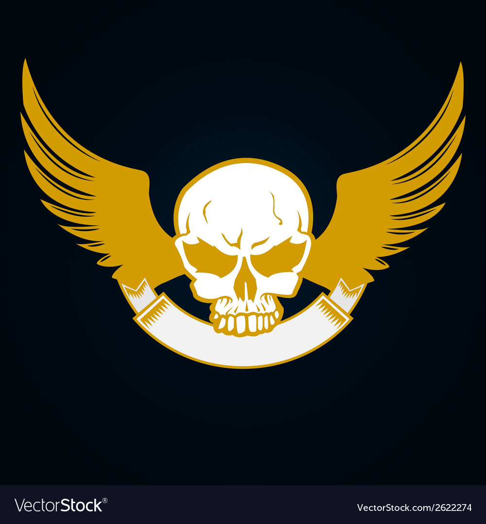 Skull with emblem and wings
