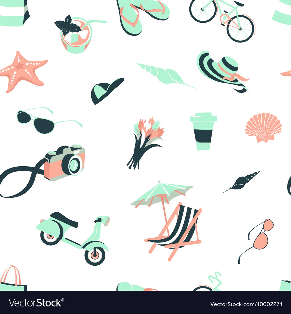 Summer beach party seamless pattern seashells and