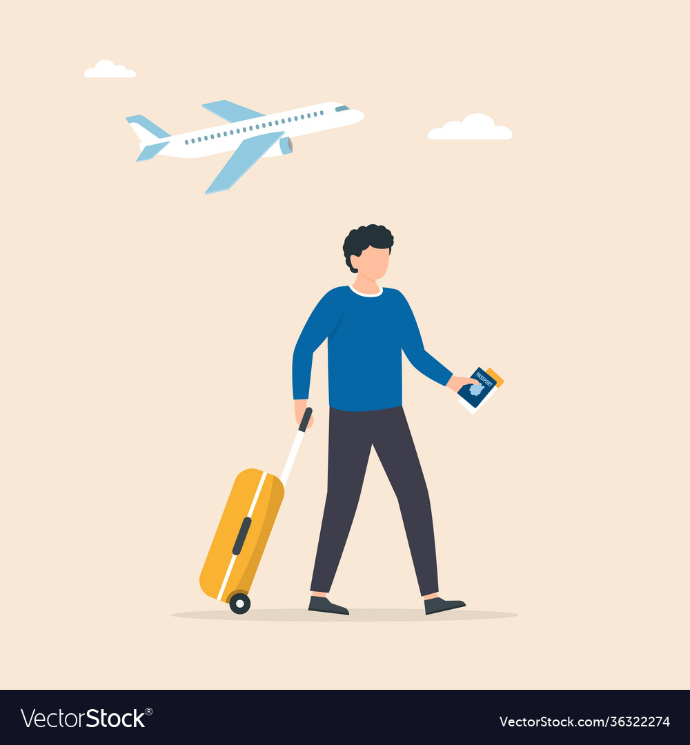 Traveler walking through airport with a wheel