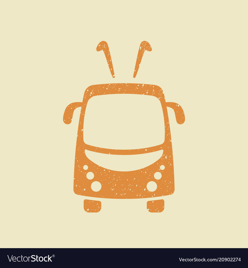 Trolleybus icon in grunge style