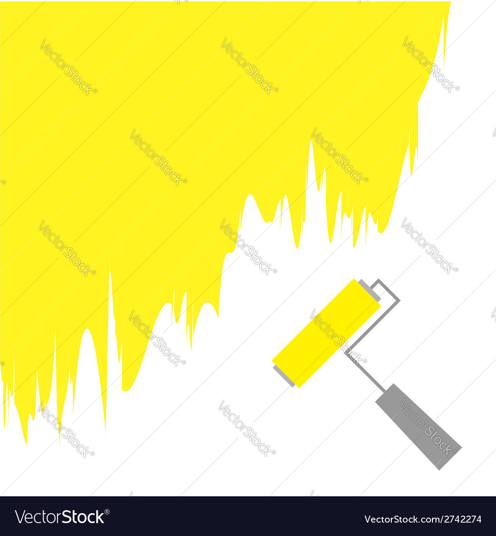 Yellow paint roller brush for text on the wall