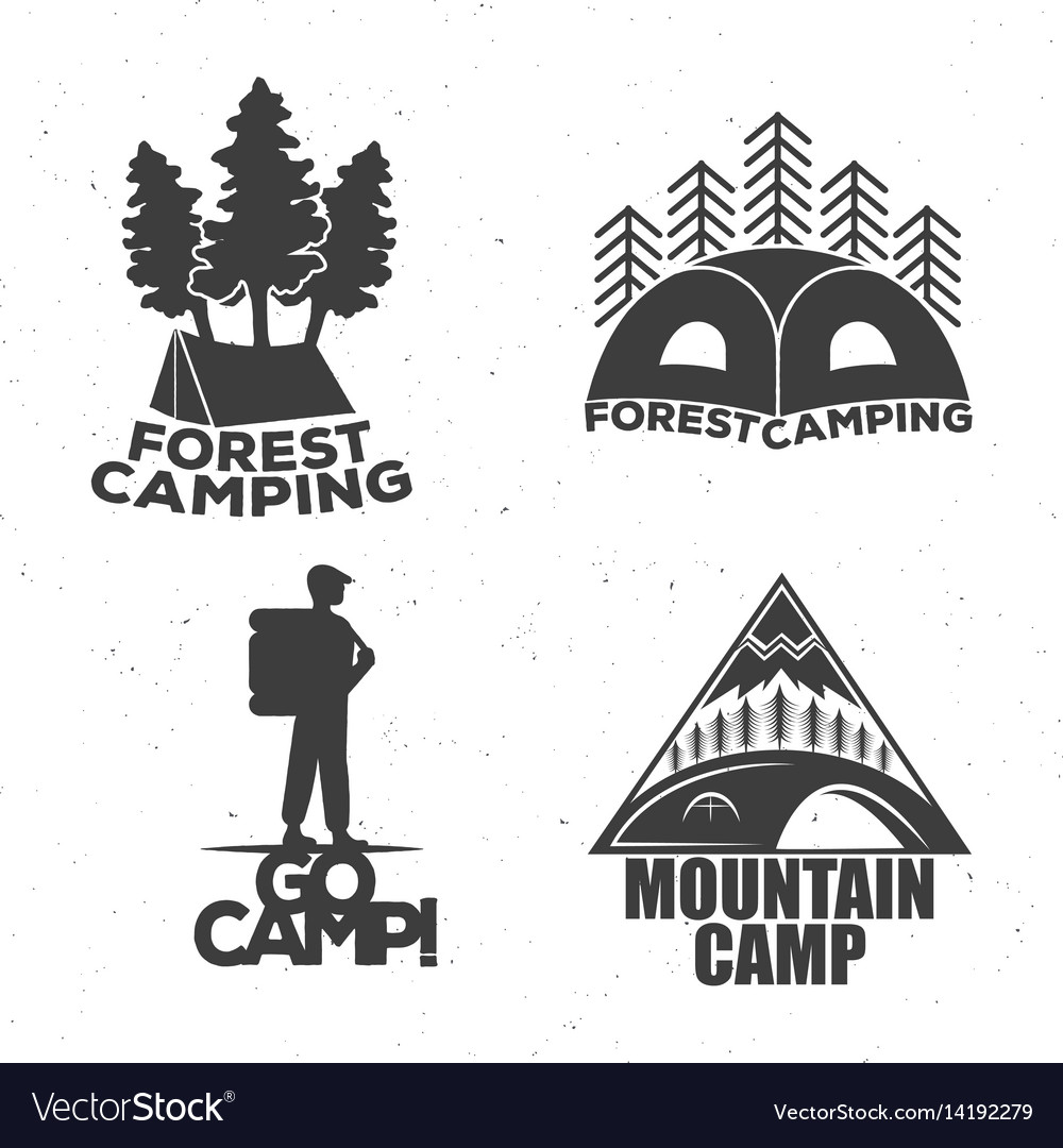 A camping set of logos for travelers a tent a