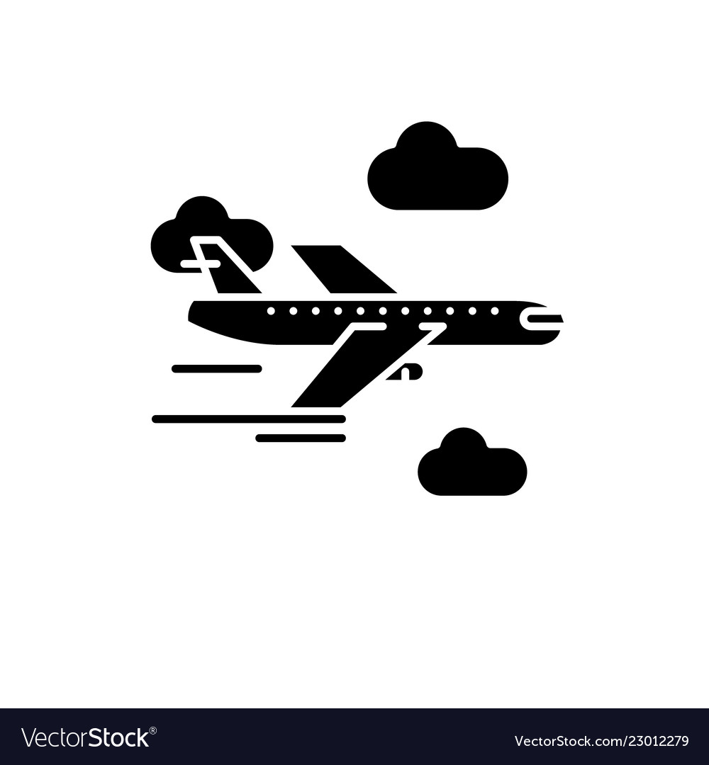 Airplane black icon sign on isolated