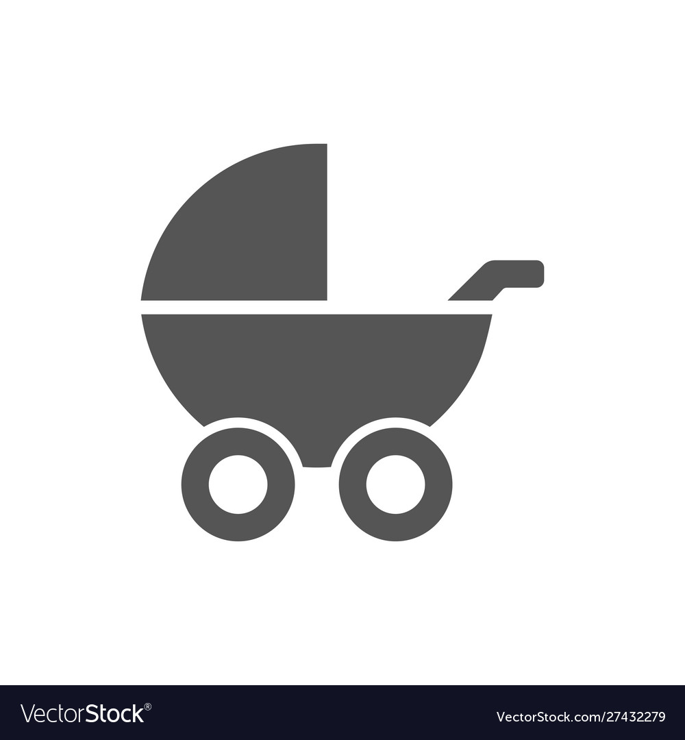 Baby buggy simple icon grey color on white