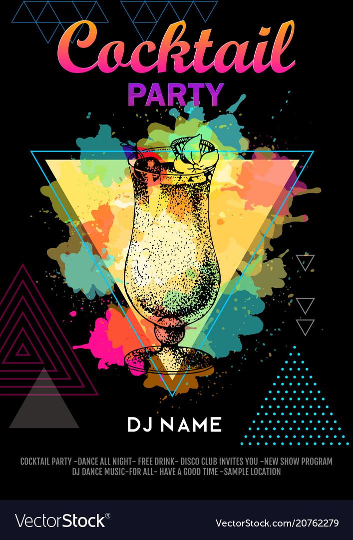 Cocktail pina colada on artistic polygon