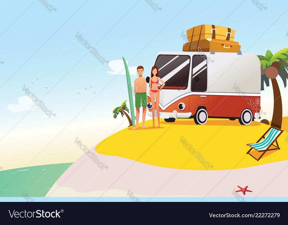 Couple going on surfing summer vacation