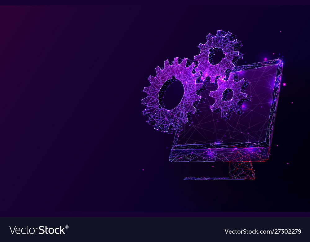 Desktop computer and cogs low poly