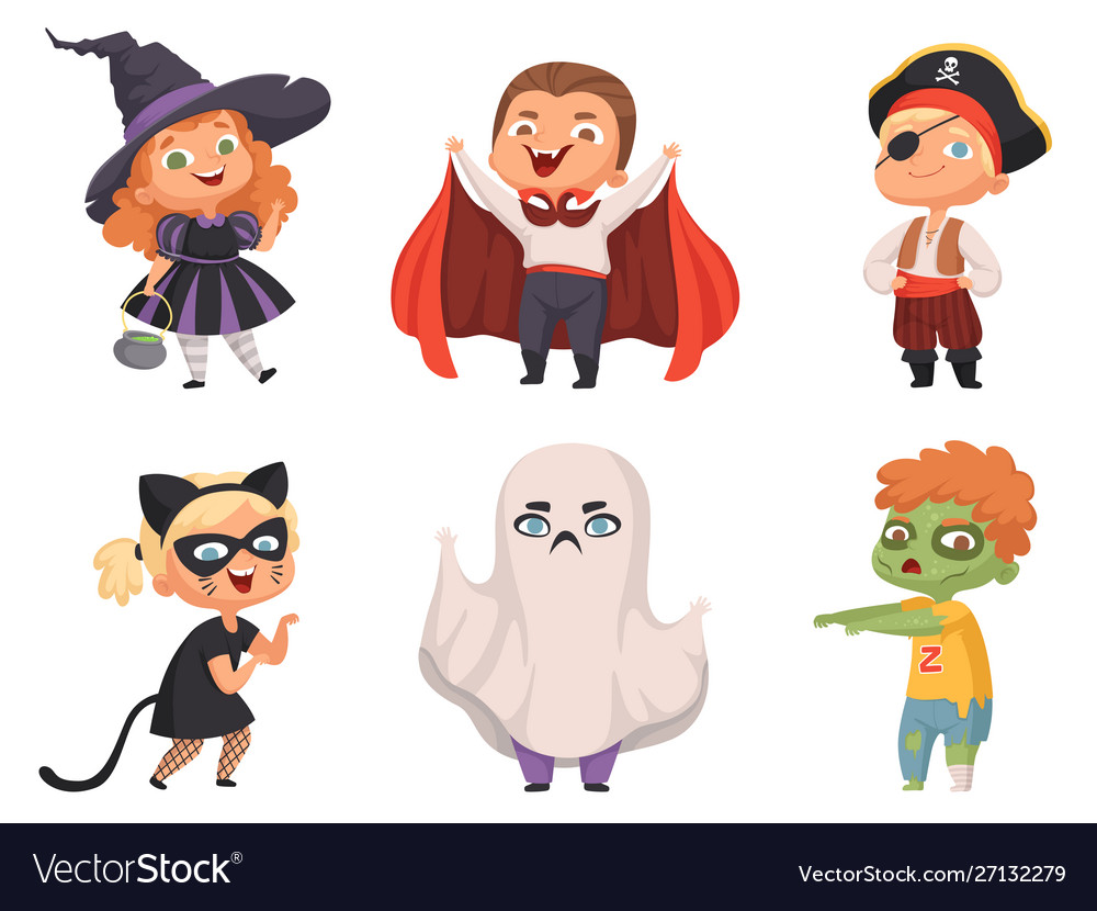 Halloween kids party children scary characters