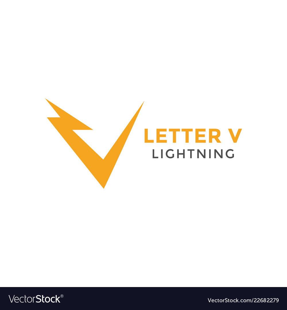 Letter v lightning graphic design template
