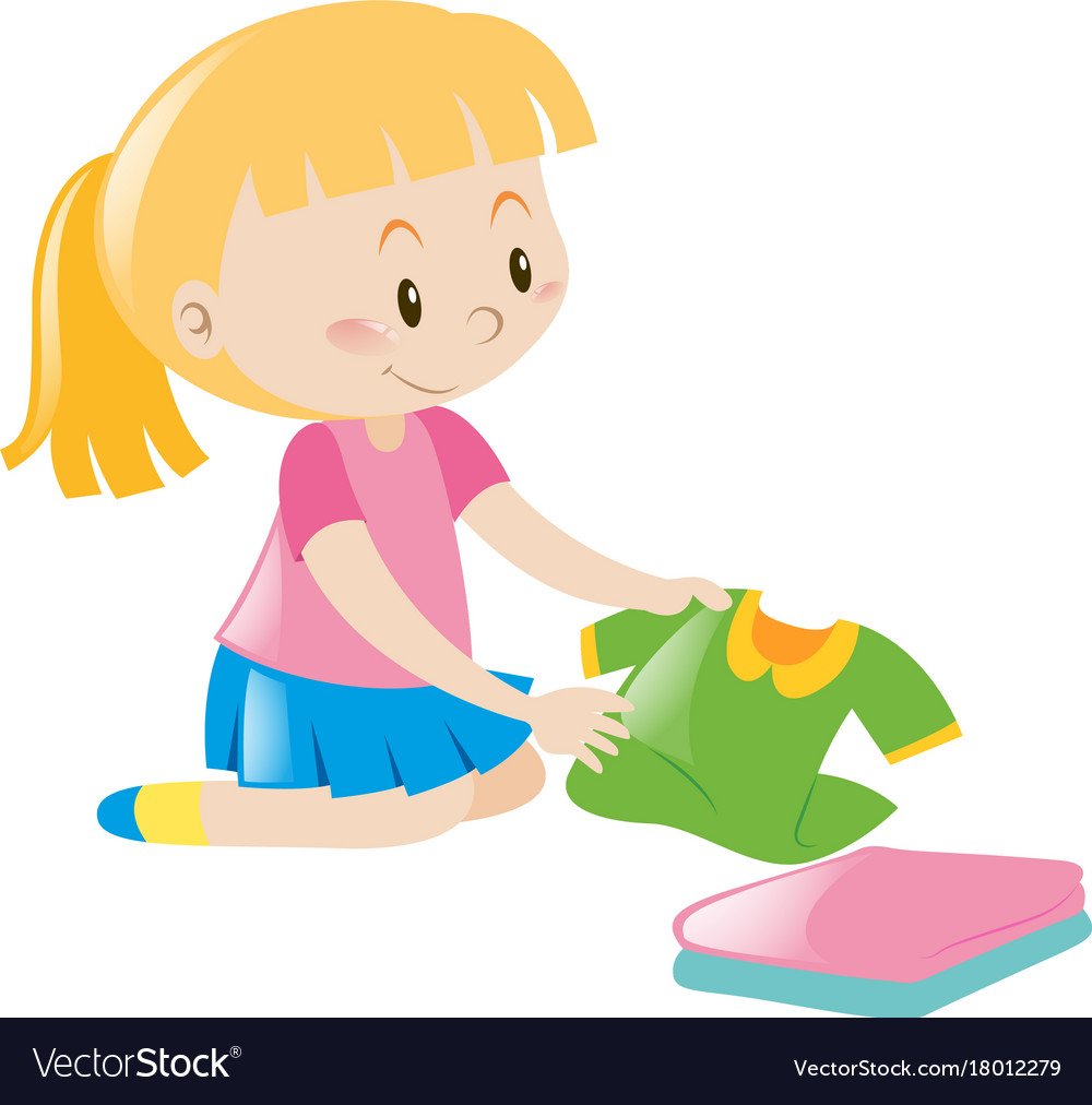 Little girl in pink folding clothes Royalty Free Vector