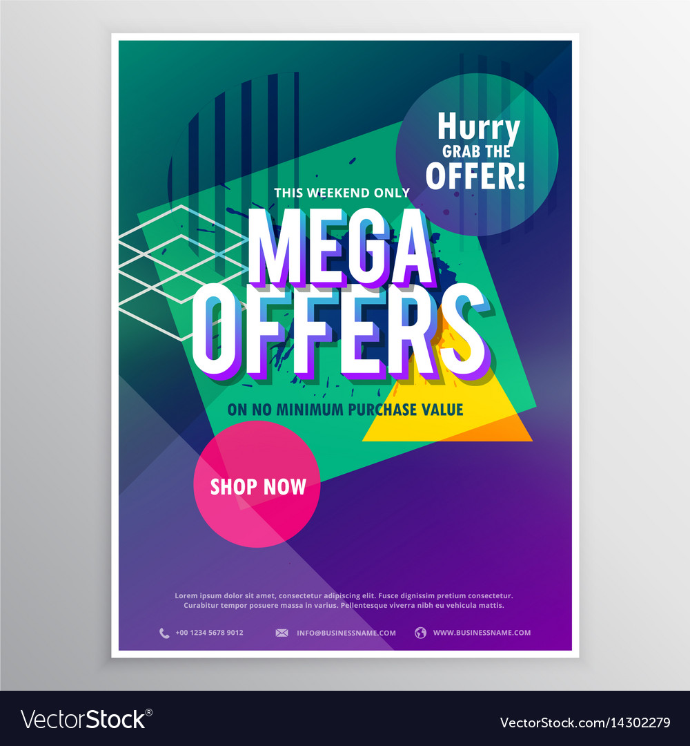 promotional mega sale brochure flyer template vector image