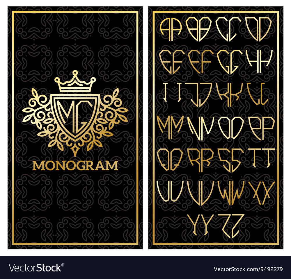 Retro card with monogram and a set of letters for