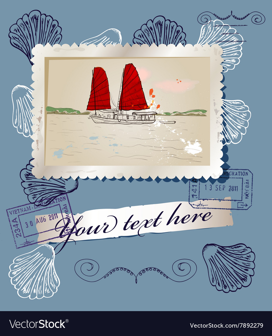 Scrapbooking poster with sea travelling elements