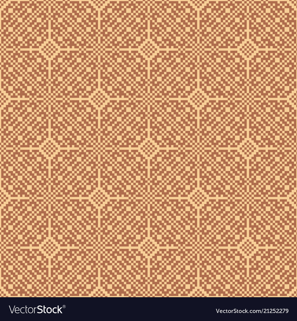 Seamless asian brown weave pattern in pixel style