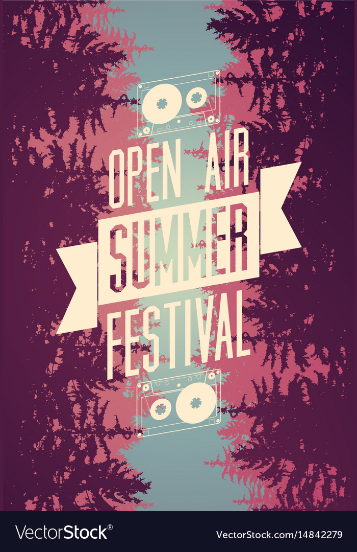 Summer festival open air typographical poster