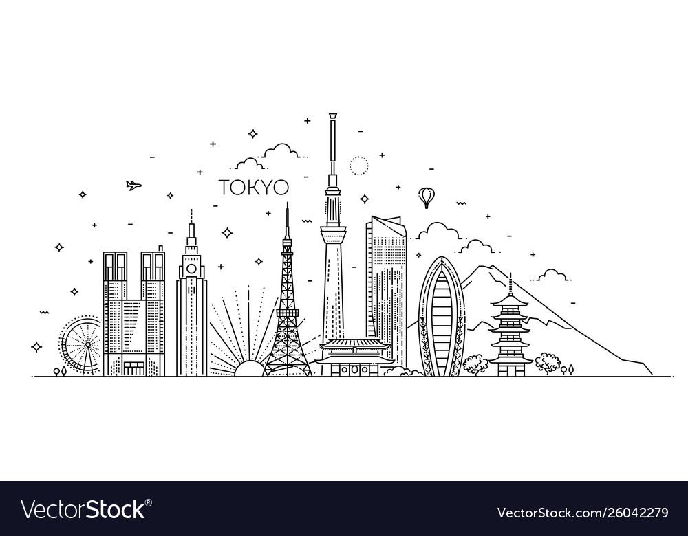 Tokyo vacation icons set icons