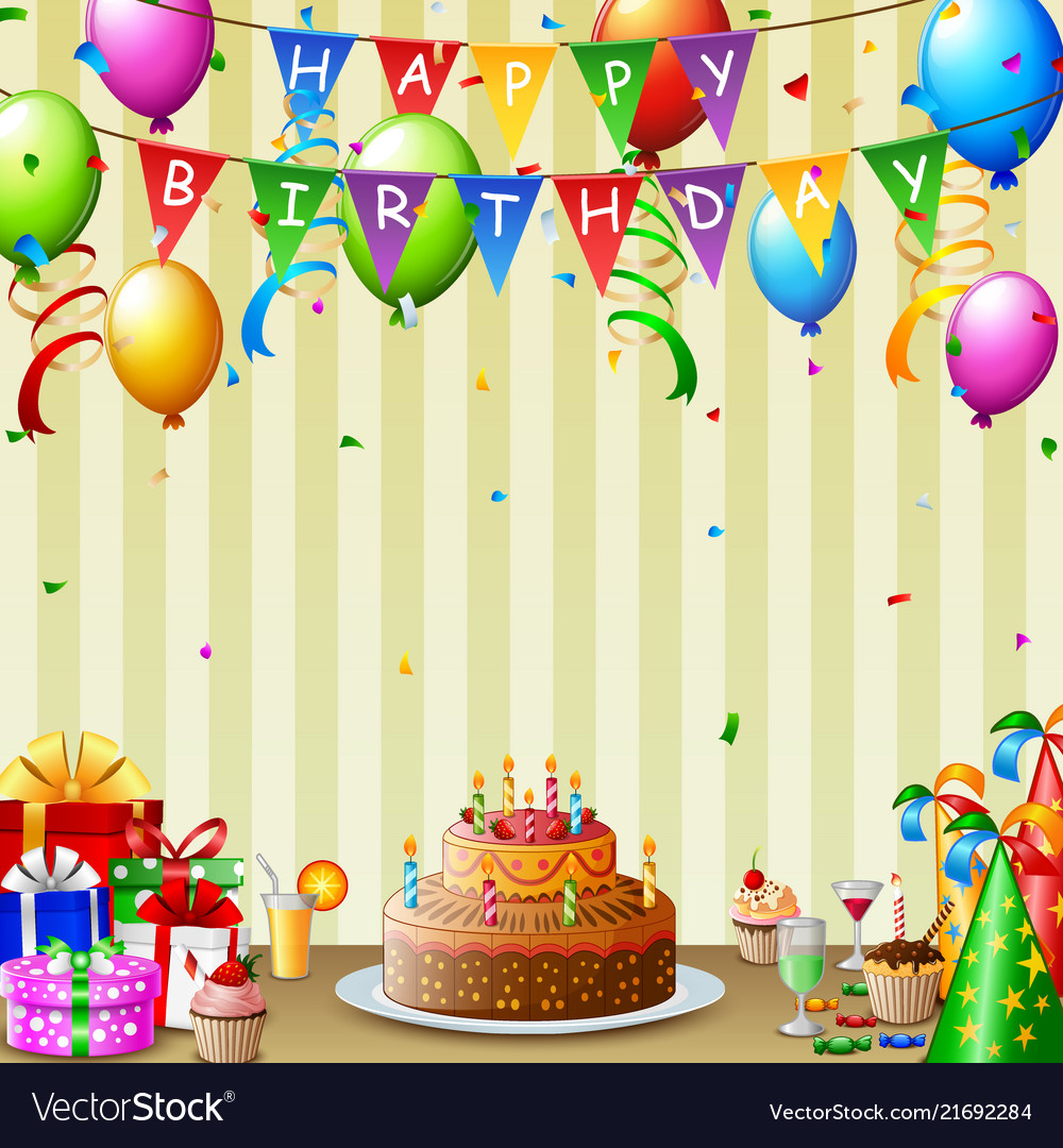 Birthday background with birthday cake and colorfu