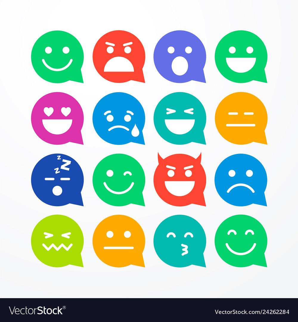 Colorful flat style emoji speech bubbles