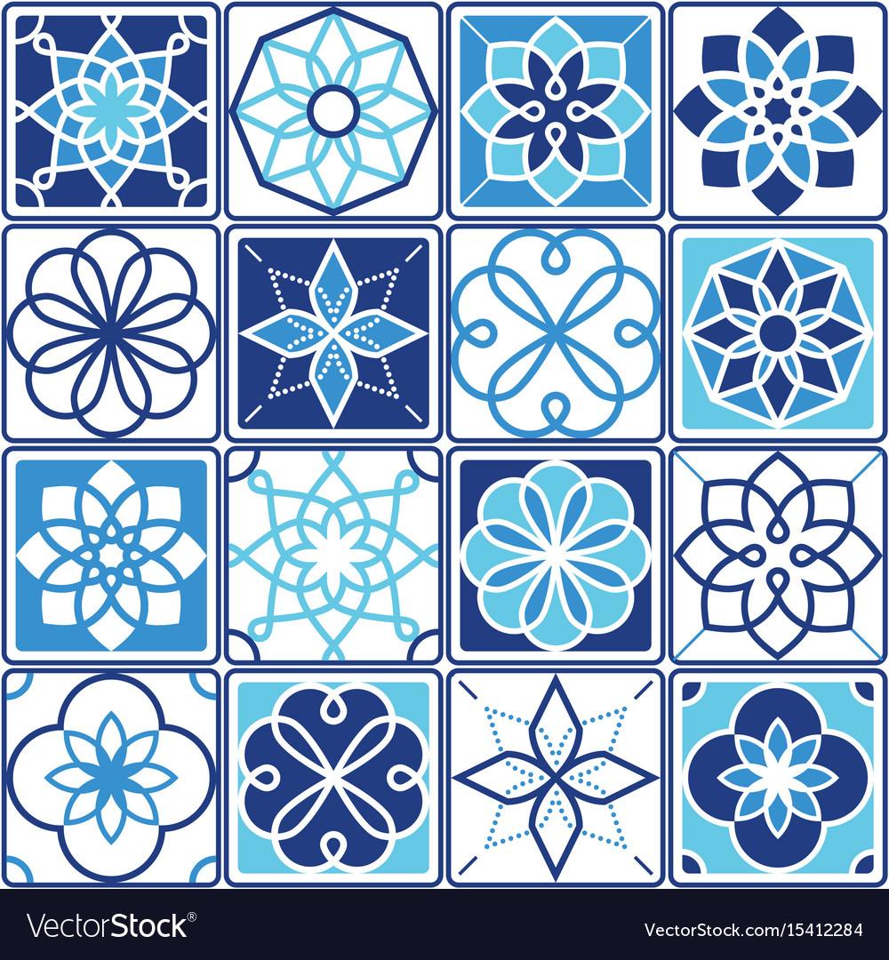 portuguese azulejo tiles design seamless geometri vector image