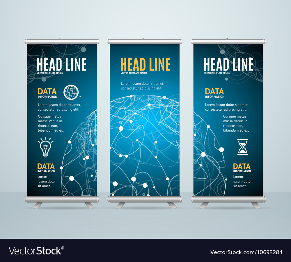 Roll up banner template cosmos science concept