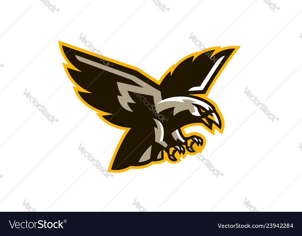 The logo of a flying hawk a dangerous predator