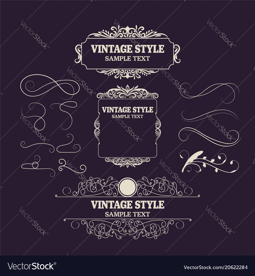 Vintage decorations elements and frames retro