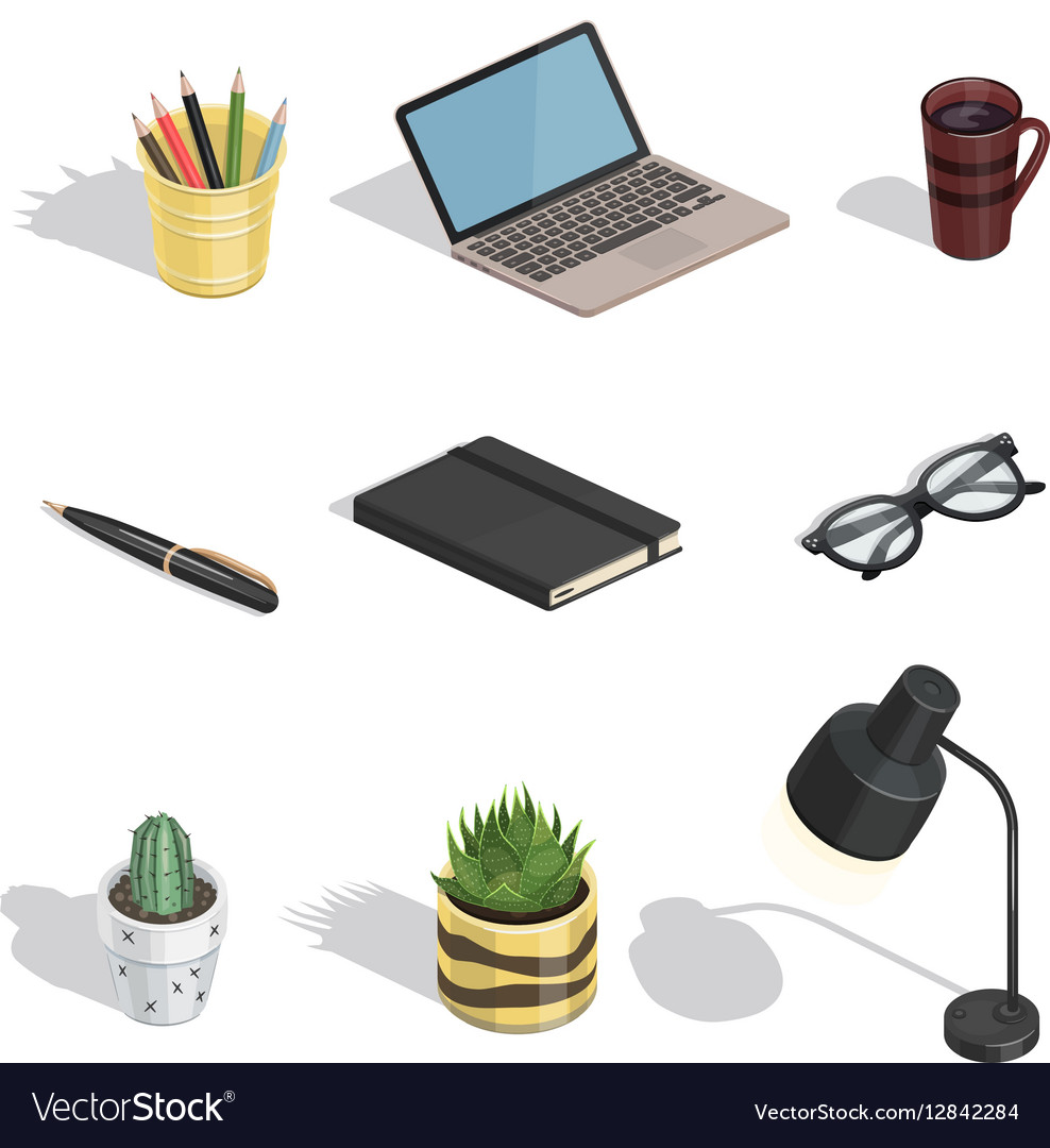 Workspace items isometric icons