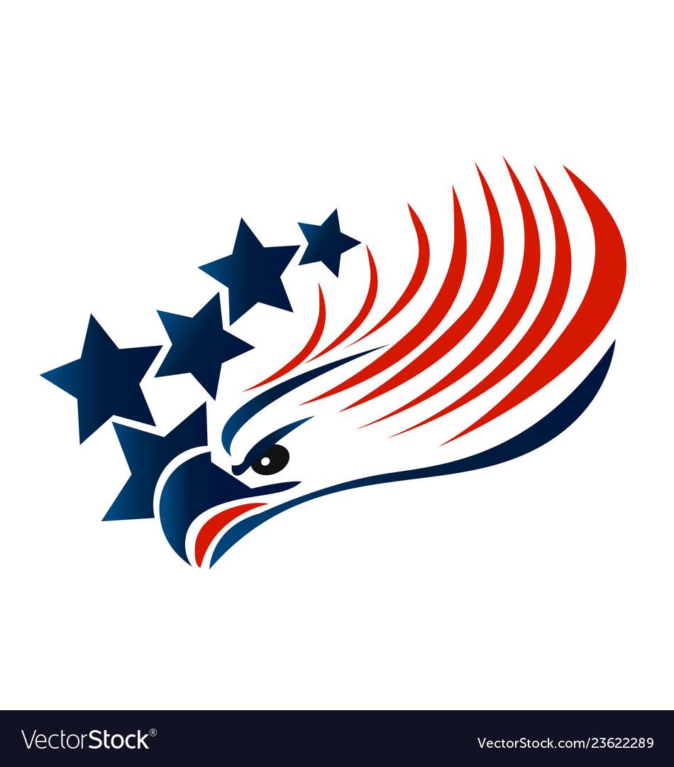 Bald eagle american flag logo