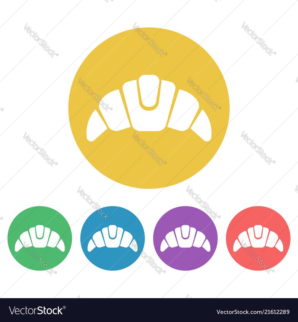 Croissant set flat style round icons