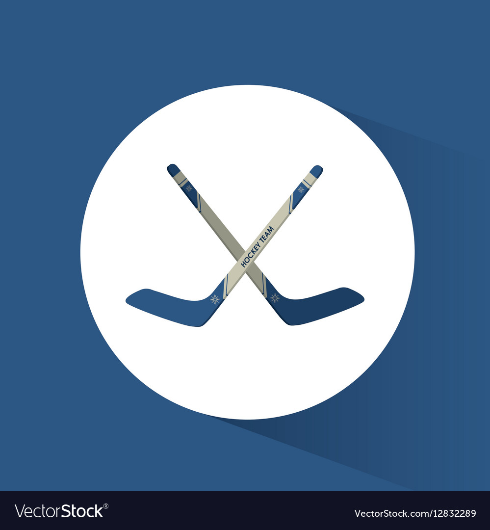 Crossed sticks hockey blue background vector image