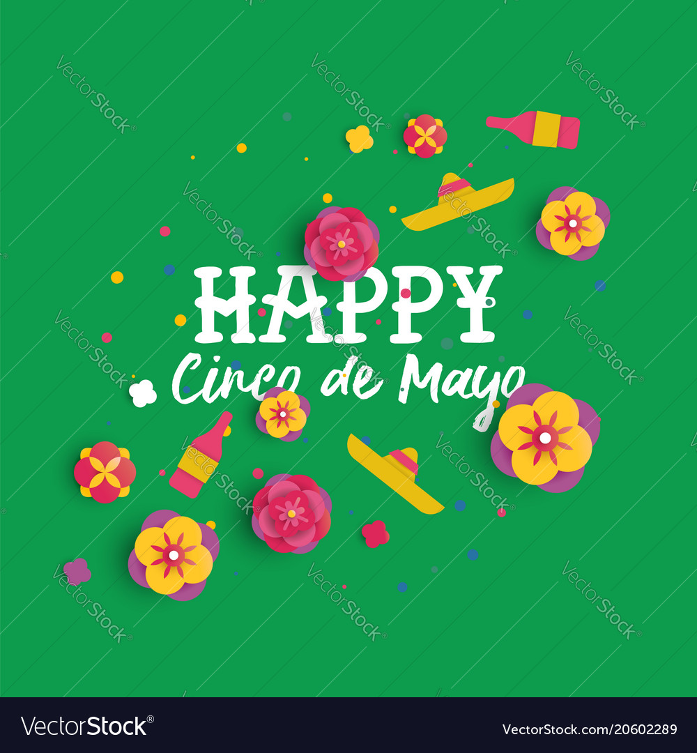 Happy Cinco De Mayo Paper Art Mexican Flower Card Vector Image